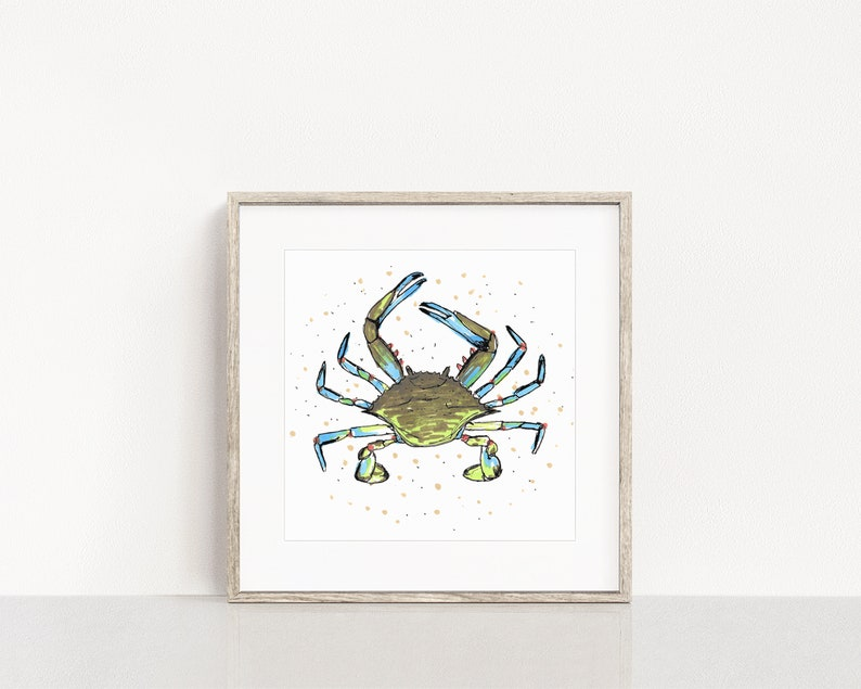 Blue Crab Art Print / Ocean Life Wall Art / Blue Crab Nautical image 0