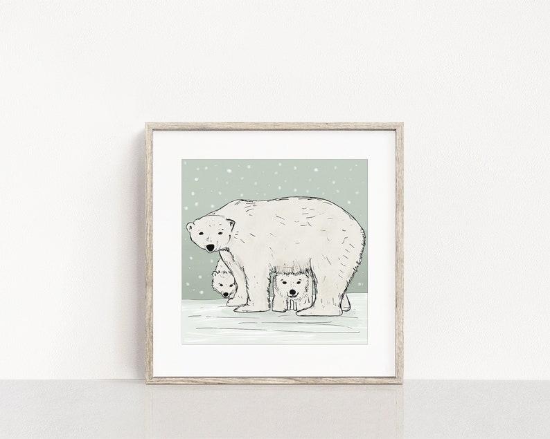 Polar Bear Family Art Print / Winter Animal Wall Art / Nusery image 0