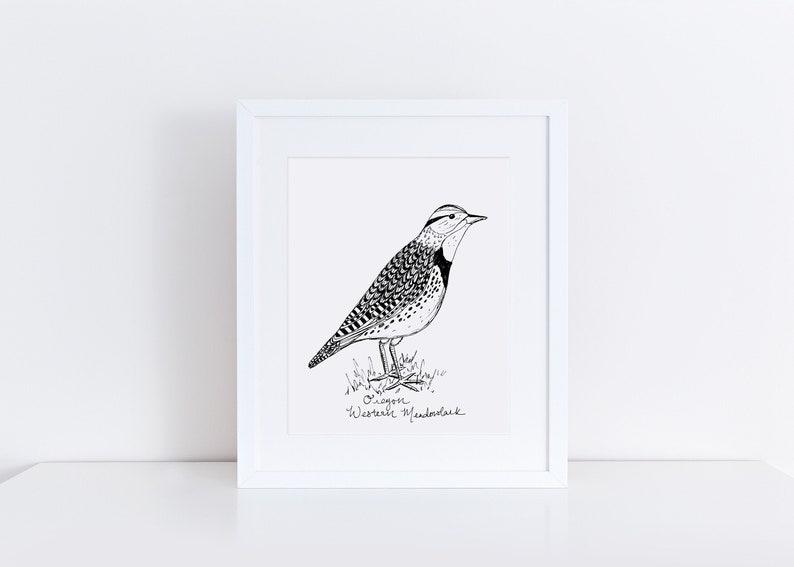 Oregon Meadowlark State Bird Art Print /  Oregon Decor / image 0