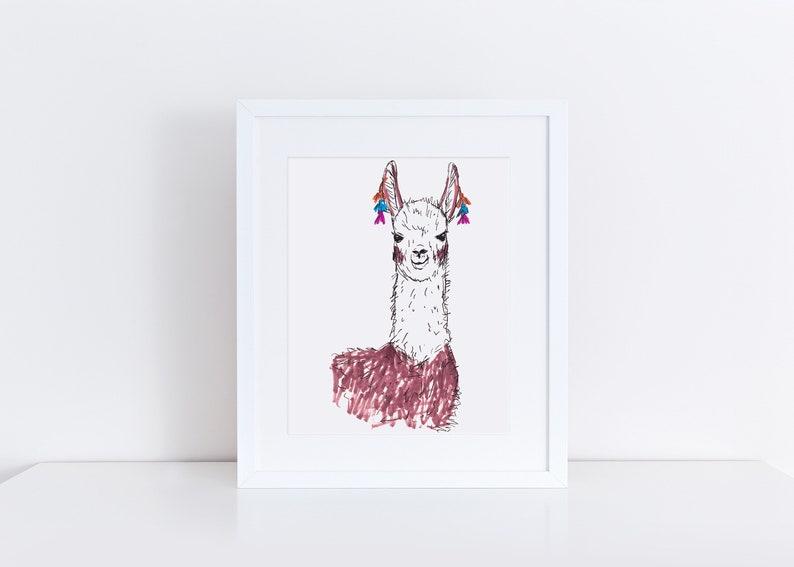 Llama Art Print / Llama Art / Cute Llama / Llama Lover / image 0