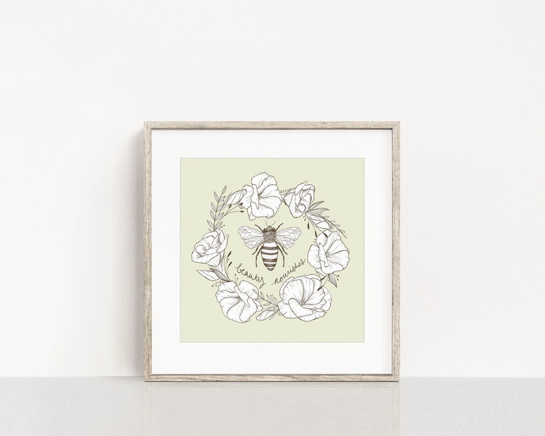 Honey Bee in a Lisianthus Wreath Art Print / Beauty Nourishes image 0