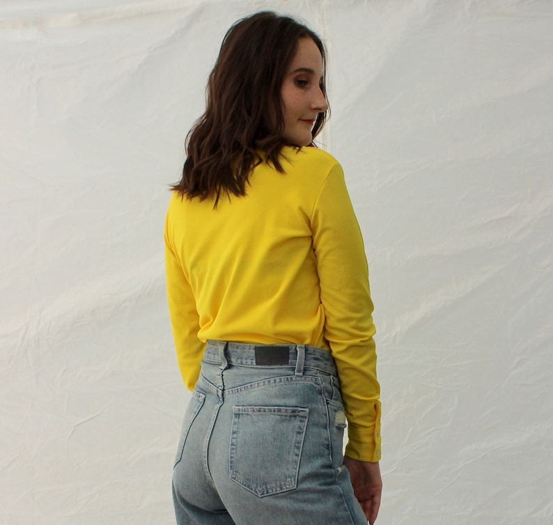 Vintage 70s Bright Yellow Disco Shirt  Groovy Polyester Blouse Big Collar 1970s HOLIDAY SALE