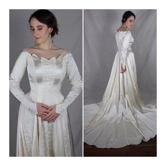 Vintage 1950s Satin and Lace Wedding Dress / Long