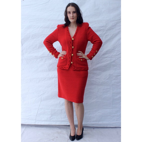HOLIDAY SALE! Vintage Adolfo Suit / True Red Chane