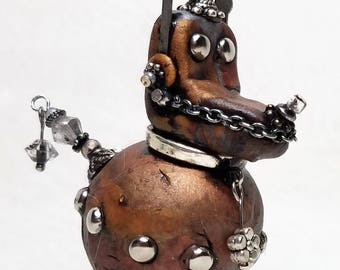 Mixed Media Polymer Clay Steampunk Robot Dog