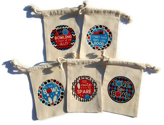 Bowling Party Favors Set of 10 Muslin 4x6 Gift Bags Boy Birthday Treat Goody Bag Ball Pins Shoes Spare Holds Tokens Red Blue Black Adult Kid
