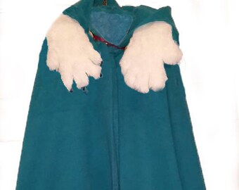 Cloak with bear claws, lined, heavy with hood