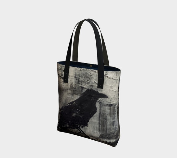 34590b1618c1 Raven Canvas Tote Bag Vegan Leather Straps Double-Sided