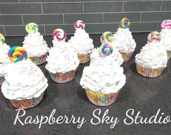Faux CUPCAKES Fake Food THANKSGIVING FALL  TURKEY round sprinkles