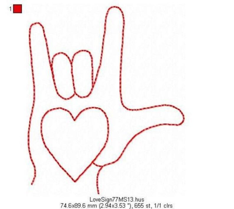 LOVE SIGN  Redwork  Machine Embroidery Design  4x4 Hoop image 0