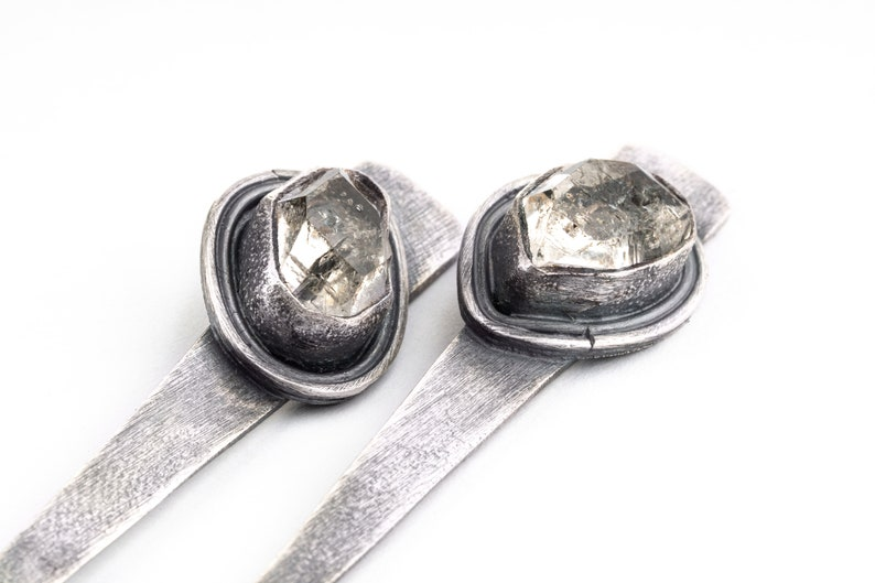 Triangle  Herkimer Diamond 925 Sterling Silver Long Brushed  and Oxidised Dangle Earring