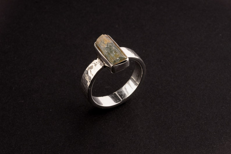Hammered Textured Solid 925 Sterling Silver Ring Raw Aquamarine Size 10