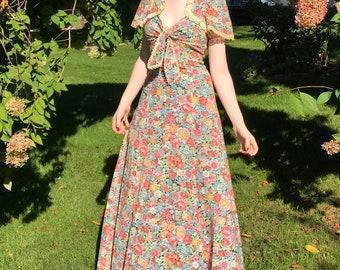 70s Floral Halter Maxi Dress | Young Edwardian | Dress + Cropped Jacket | Sundress | Arpeja | Boho | Small