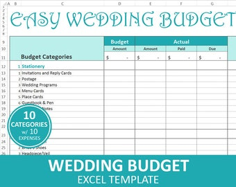 Wedding budget etsy easy wedding budget turquoise wedding budget planner excel wedding budget wedding expenses tracker instant digital download junglespirit Choice Image