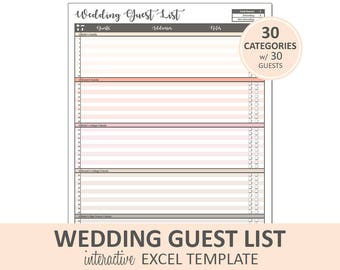 Peachy Wedding Guest List