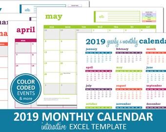 Elegant Monthly Calendar 2018 Printable Excel Calendar Etsy