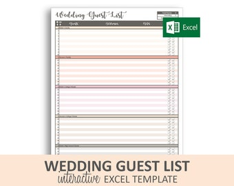 picture relating to Printable Wedding Guest List Template known as Wedding ceremony visitor checklist Etsy
