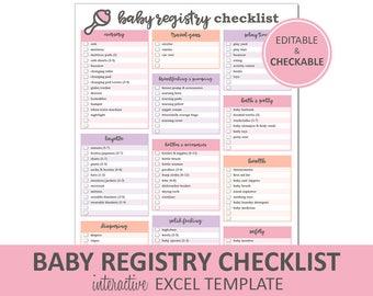 baby registry checklist editable pink printable excel baby registry template baby shower gift registry instant digital download