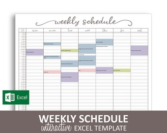 image about Weekly Schedule Printable known as Weekly program Etsy