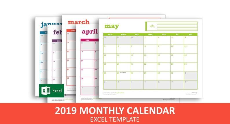 Easy Event Calendar 2019 - Excel Template | Printable Monthly Calendar |  Instant Digital Download