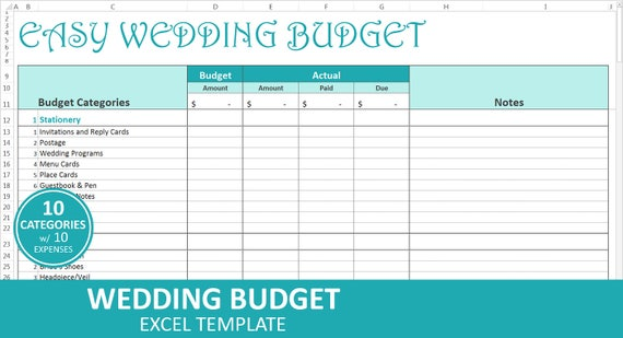 Einfach Hochzeit Budget Türkis Budget Hochzeitsplaner | Etsy