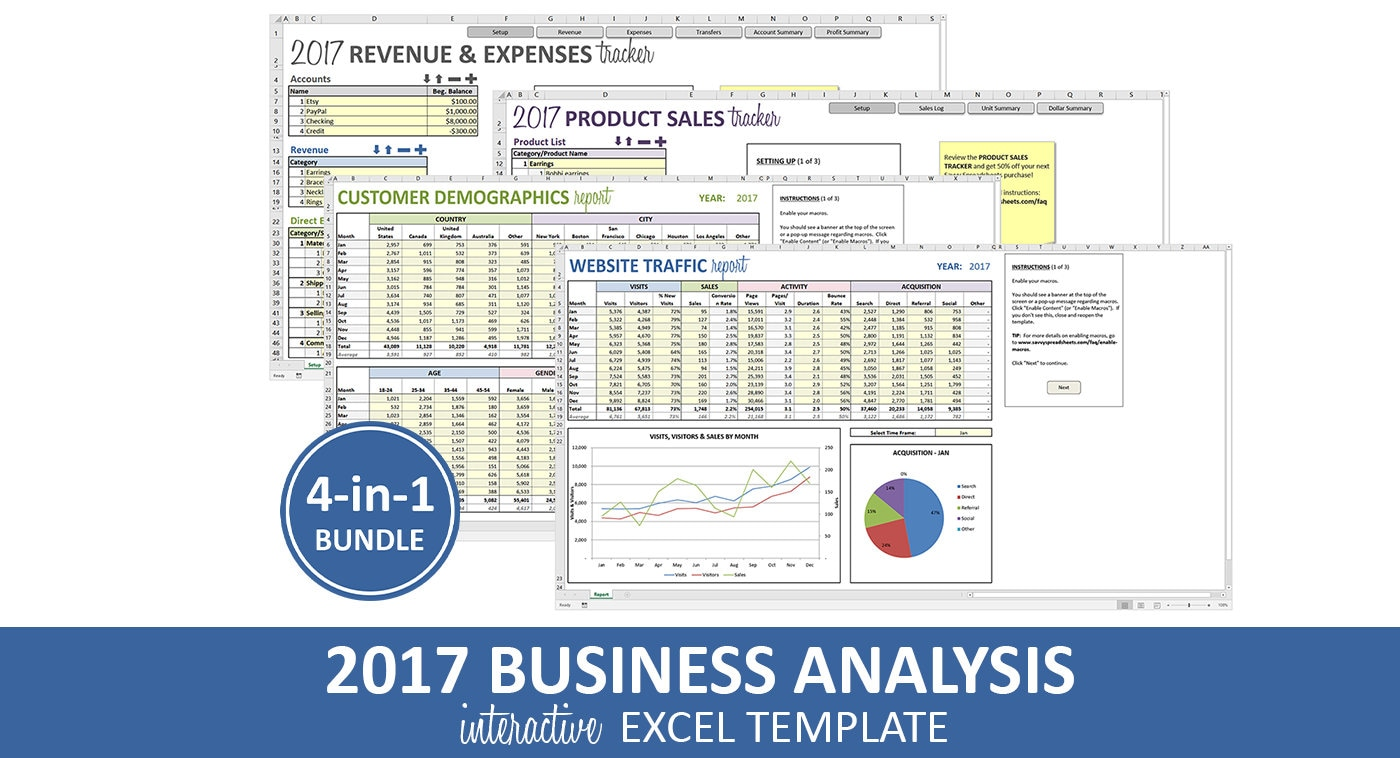 Business analysis bundle 2017 excel templates revenue etsy zoom accmission Choice Image