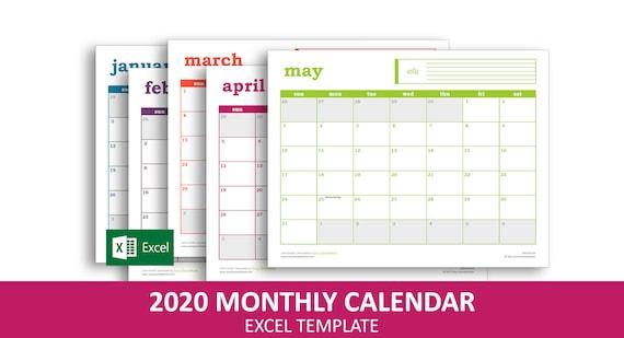 Stampabile Calendario 2020 Excel.Calendario Degli Eventi Facile 2020 Modello Di Excel Stampabile Calendario Mensile Instant Download Digitale