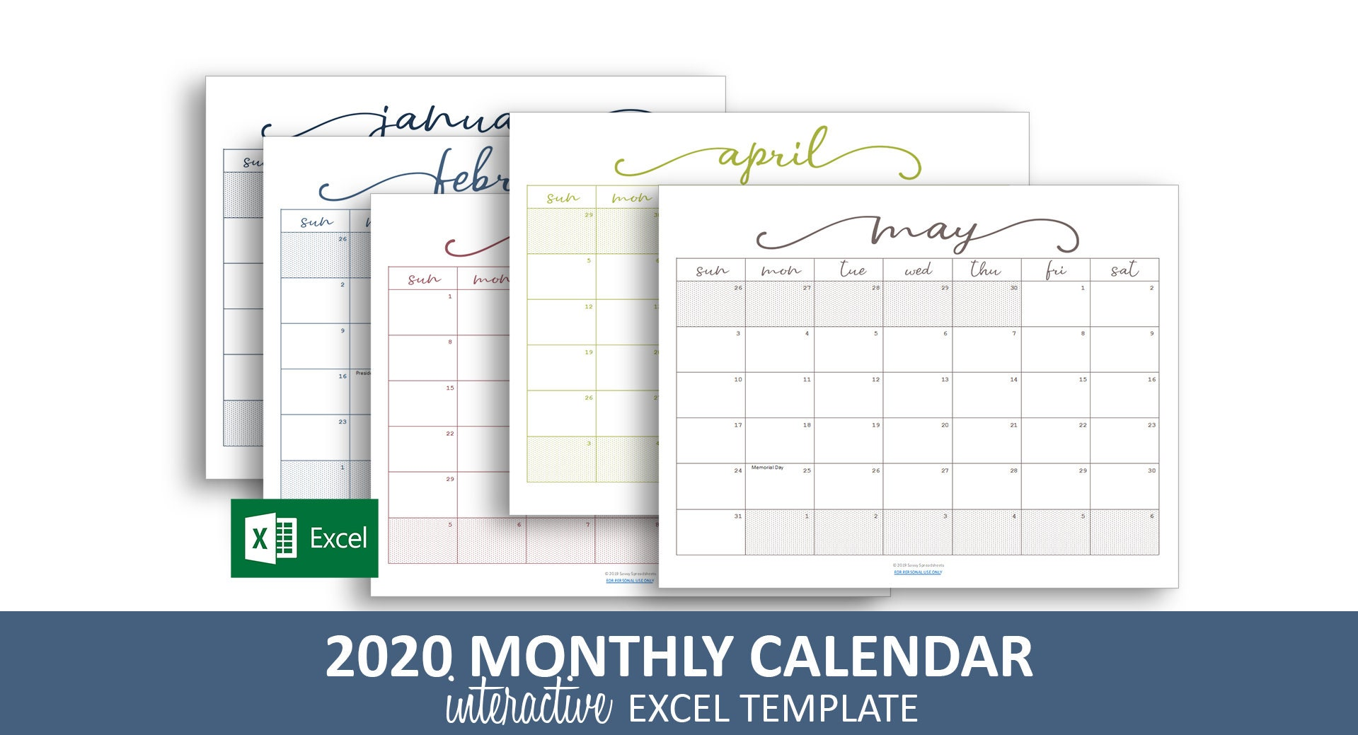 Controllo Calendario Excel 2020.Elegante Mensile Calendario 2020 Modello Di Excel Stampabile Calendario Mensile Colore Codificato Eventi Instant Download Digitale