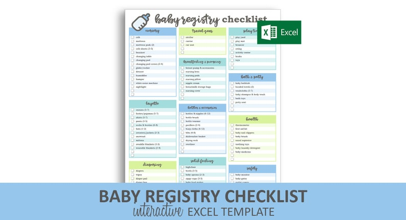 photo regarding Wedding Registry Checklist Printable referred to as Youngster Registry Listing - Blue - Excel Template Editable Checkable Printable Kid Shower Reward Registry Immediate Electronic Down load