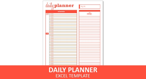 basic daily planner orange printable excel planner etsy