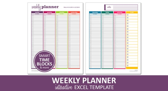 Dynamic Weekly Planner Printable Excel Planner Template Etsy