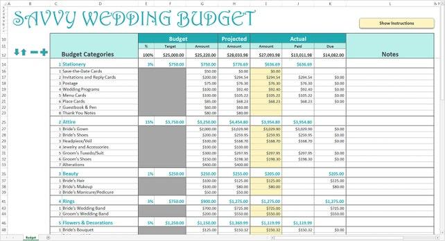 Versierte Hochzeit Budget Türkis Budget Hochzeitsplaner | Etsy