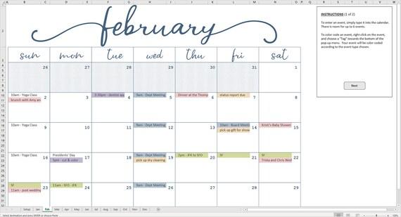 Calendrier Vba Excel 2020.Elegant Mensuel Calendrier 2020 Modele Excel Calendrier Mensuel Imprimable Code Couleur Des Evenements Telechargement