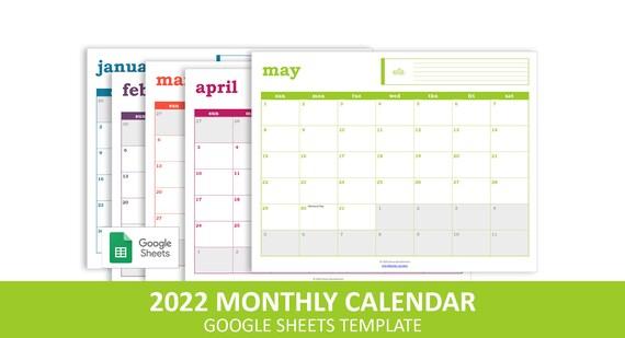 2022 Events Calendar.Easy Event Calendar 2022 Google Sheets Template Printable Etsy