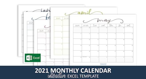 Calendario mensile elegante 2021 Modello Excel / Calendario | Etsy