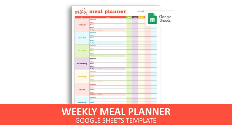 graphic regarding Meal Plan Template Printable known as Weekly Dinner Planner - Google Sheets Template Printable Weekly Nutritious Eating plan With Meals Categories Planner Quick Electronic Down load