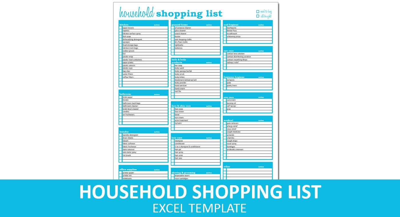 Haushalt die Einkaufsliste Liste Excel Vorlage druckbare | Etsy
