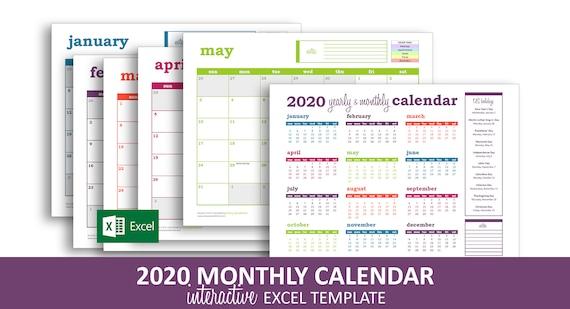 Controllo Calendario Excel 2020.Calendario Di Evento Deluxe 2020 Modello Di Excel Stampabile Calendario Mensile Colore Codificato Eventi Instant Download Digitale