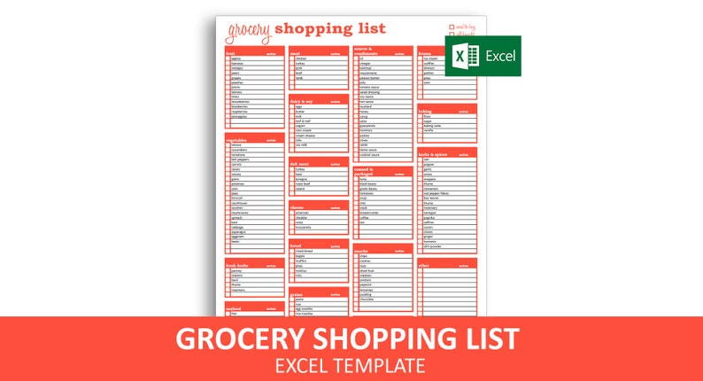 photograph about Printable Grocery List Template titled Grocery Buying Listing - Excel Template Editable Printable Grocery Record Immediate Electronic Obtain