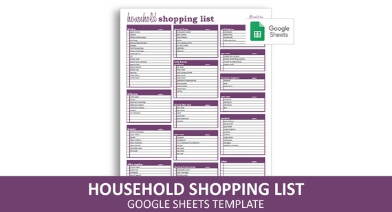 Household Shopping List Google Sheets Template Editable Printable Household Supplies Checklist Instant Digital Download