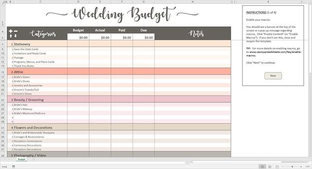 Pfirsich Hochzeit Budget Budget druckbare Hochzeit Excel | Etsy