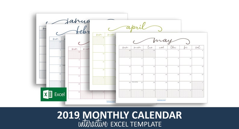 Color Coded Calendar 2019 | Colorpaints.co
