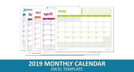 Easy Event Calendar 2019 Printable Excel Calendar Template Etsy