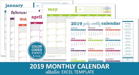 Deluxe Event Calendar 2019 Printable Excel Calendar Etsy