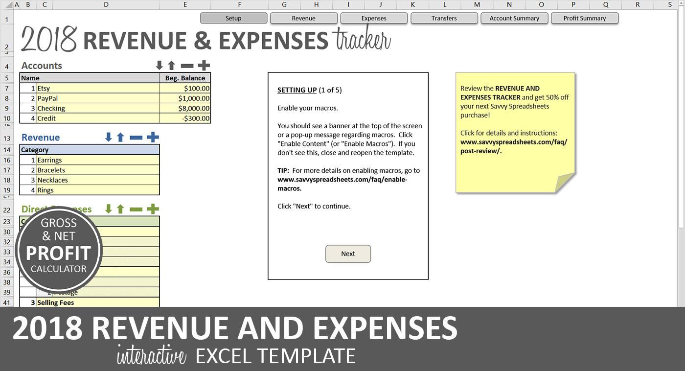 Einnahmen und Ausgaben-Tracker 2018 Excel-Business | Etsy