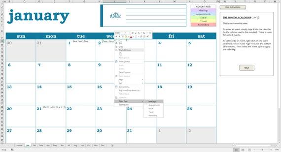Deluxe-Event-Kalender 2019 Druckbare Excel Kalendervorlage | Etsy