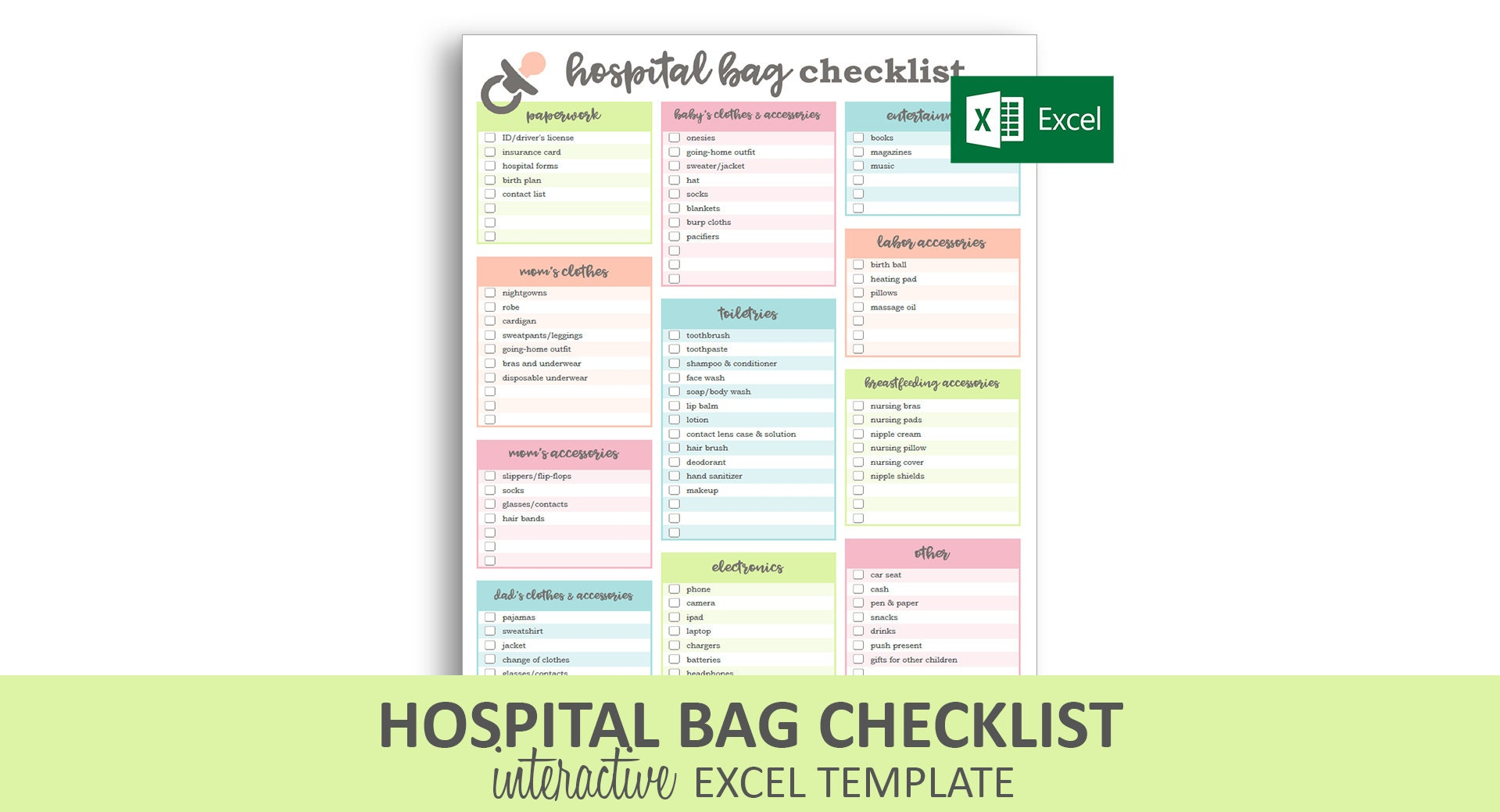 photograph about Printable Hospital Bag Checklist named Clinic Bag Record - Excel Template Editable Checkable Printable Contemporary Kid Packing Record Quick Electronic Down load