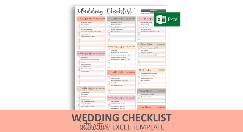 Wedding Timeline Checklist.Peachy Wedding Checklist Excel Template Editable Checkable Printable Wedding Timeline To Do List Instant Digital Download