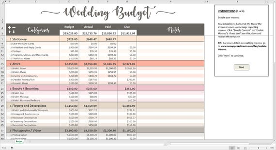 photograph relating to Wedding Budget Printable referred to as Peachy Wedding ceremony Funds - Excel Template Editable Printable Wedding ceremony Finances Tracker 20 Types 400 Bills Instantaneous Electronic Down load