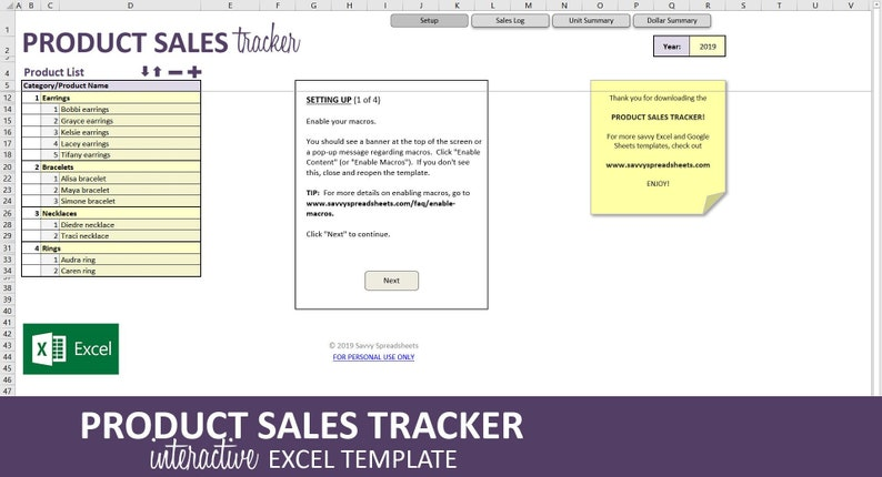 Product Sales Tracker - Excel Template   Monthly Sales Report by Category    20 Categories   400 Products   Instant Digital Download